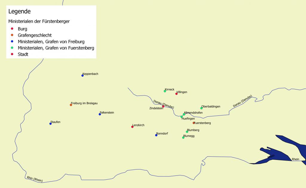 Ministerialen der Fürstenberger, Entwurf der Karte: Johannes Waldschütz, Lizenz: CC-BY-SA 4.0